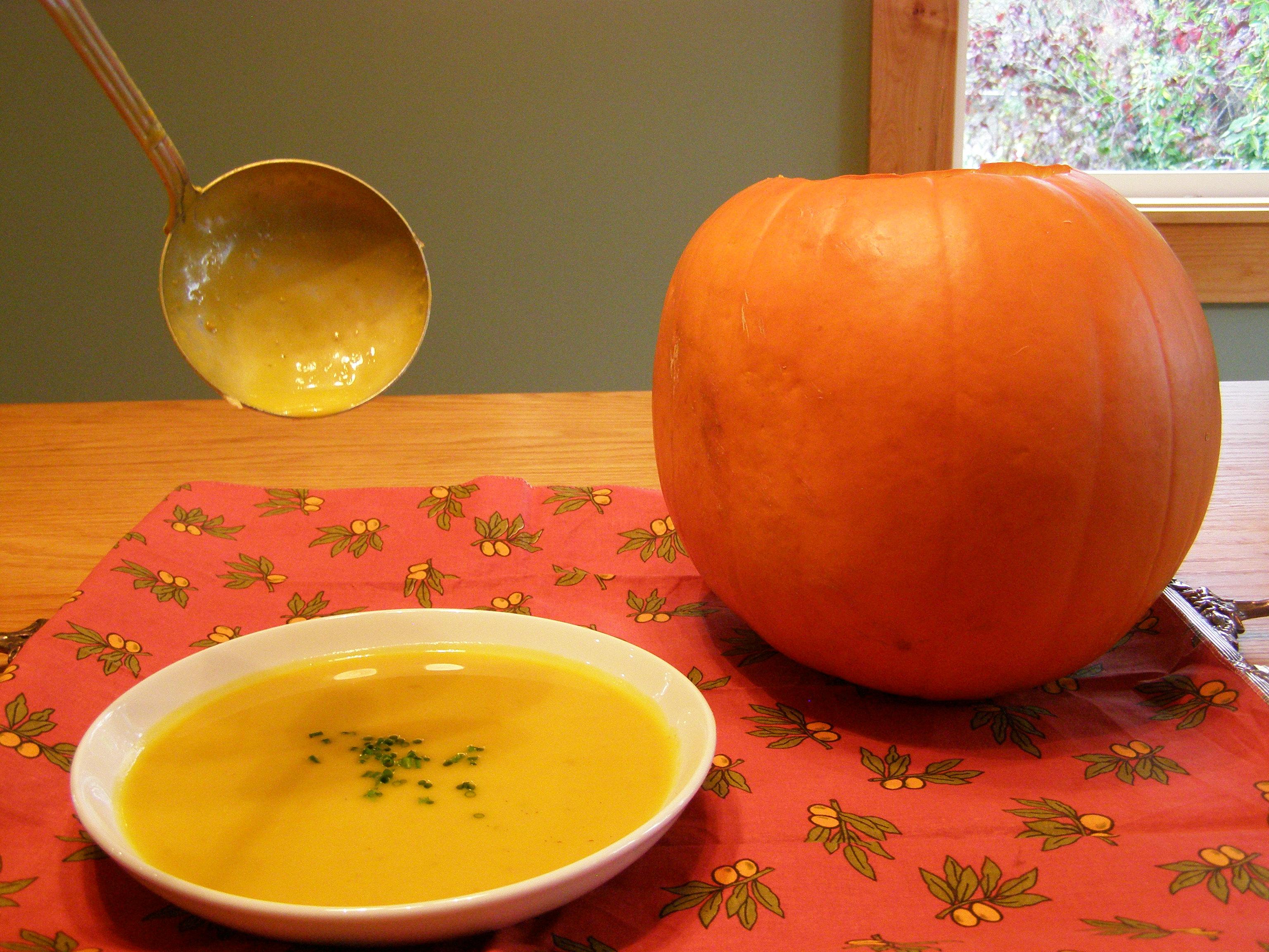 Soupe à la courge at aux Châtaignes served in a Pumpkin ...