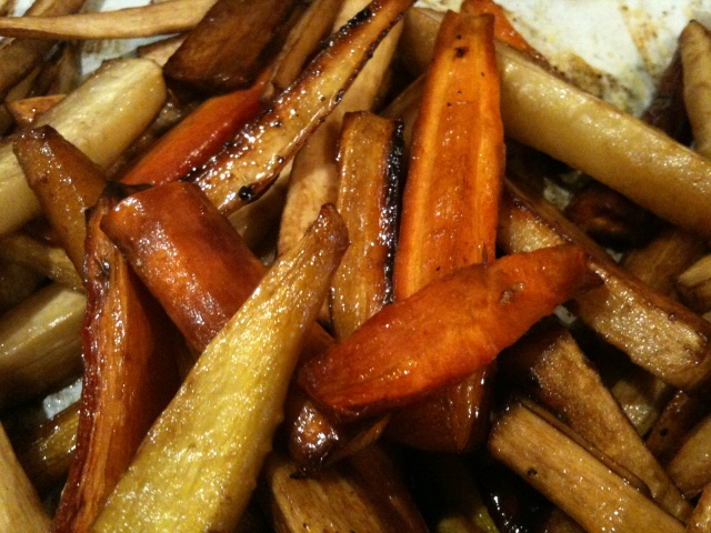 ... Dinner with all the trimmings, Caramelized Parsnip and Carrot fries